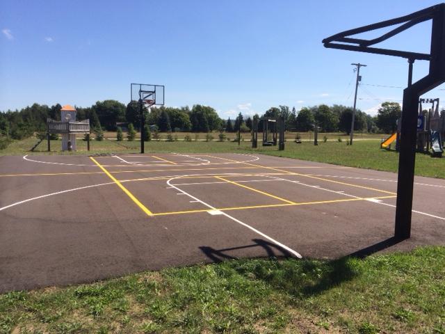 basketball court sports court markings on blacktop sealcoating ludington michigan mason county
